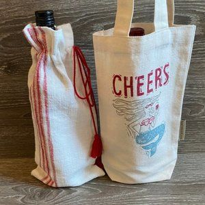 Cloth Wine Holiday Gift Bags - Set of 2